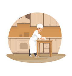 baker chef baking bread at bakery cartoon icon vector image