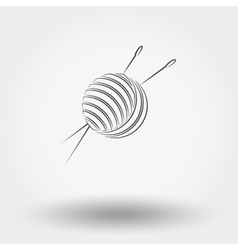 Ball of yarn and needles vector image