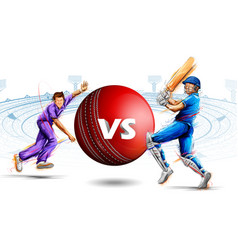 Batsman and bowler playing cricket championship vector