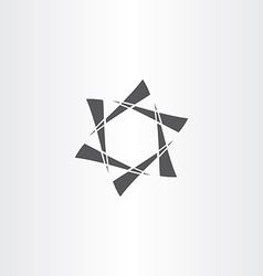 black star hexagon abstract business icon vector image