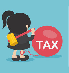 business woman against taxes vector image