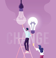 businessman change light bulb changed idea vector image