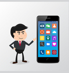 businessman present with smartphone icons vector image