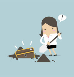 businesswoman digging ground for a treasure vector image