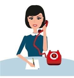 Businness woman on table with phone young vector