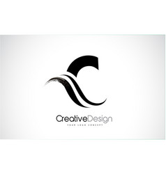 C letter design brush paint stroke vector