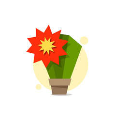 cactus in a pot with a huge red flower logo for vector image