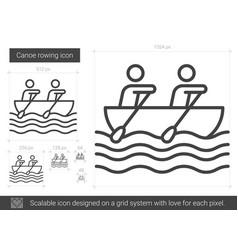 Canoe rowing line icon vector