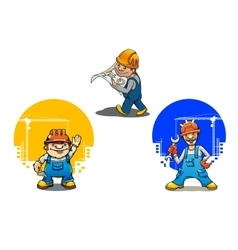 Cartoon builders anf engineer with tools vector image
