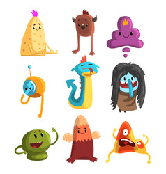 cartoon flat set of funny monsters vector image
