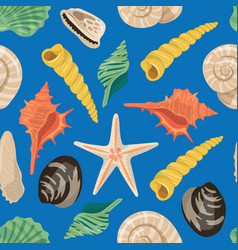 Cartoon sea shells pattern or background vector