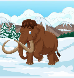 cartoon woolly mammoth walking through a snowy fie vector image