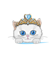 Cat with a gold tiara vector