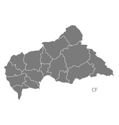 central african republic prefectures map grey vector image