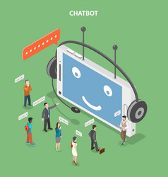Chatbot flat isometric concept vector