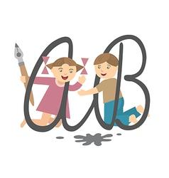 children and alphabet vector image