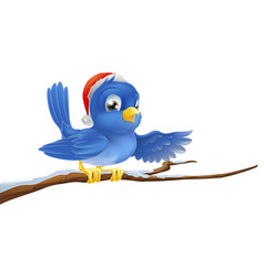 christmas bluebird pointing vector image vector image