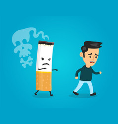 cigarette runs over man guy stop smoking vector image