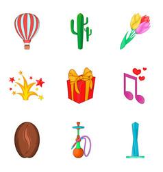 City holiday icons set cartoon style vector