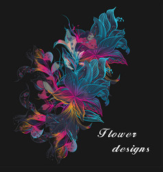 Colorful floral with lily flowers vector