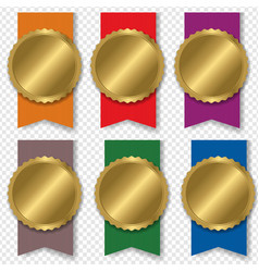 colorful medal set with transparent background vector image