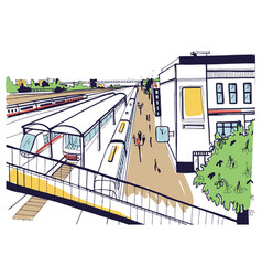 Colorful sketch top view of railway station vector