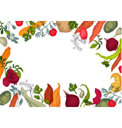 Colors vegetables frame with healthy food vector