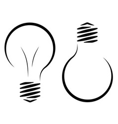 Contour logo of the incandescent lamp the vector