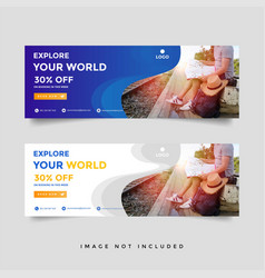 Creative travel banner template collection vector