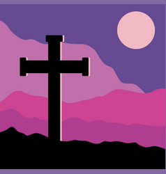 crucifix and moon vector image