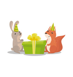 cute hare and squirrel in party hats with big vector image