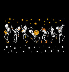 Dancing and musical skeletons haloween set vector