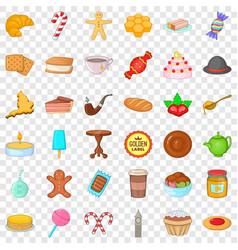 Dessert icons set cartoon style vector