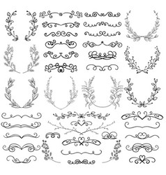 Drawn swirls scrolls dividers laurels brackets vector