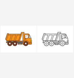 dump truck coloring page dumper truck side view vector image