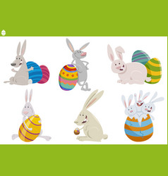 easter bunnies characters set cartoon vector image