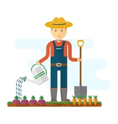 farmer with shovel in garden vector image