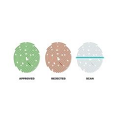 Fingerprint thumbprint icons set Approved vector