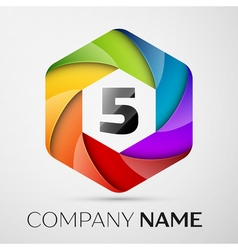 Five number colorful logo in the hexagonal on vector image