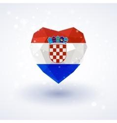 Flag of Croatia in shape diamond glass heart vector