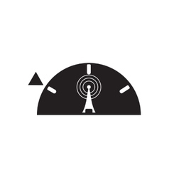 Flat icon in black and white mobile Wi fi tower vector
