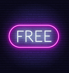 free neon sign on dark background vector image