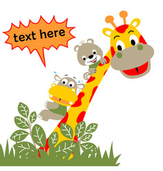 giraffe and little friends cartoon vector image