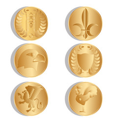 golden ancient coins isolated white background vector image