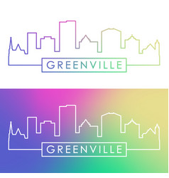 greenville skyline colorful linear style vector image