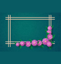 greeting cards with flowers frame vector image