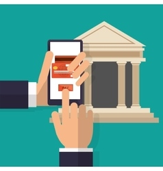 Hand holds smartphone pay button bank online vector