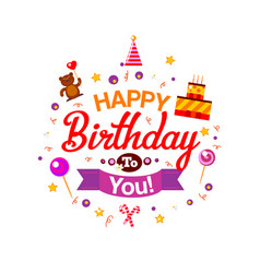 Happy birthday kids typography card vector