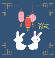happy mid autumn festival greeting card white vector image