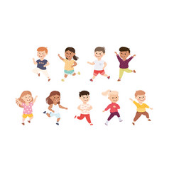 Happy running boys and girls set happy smiling vector